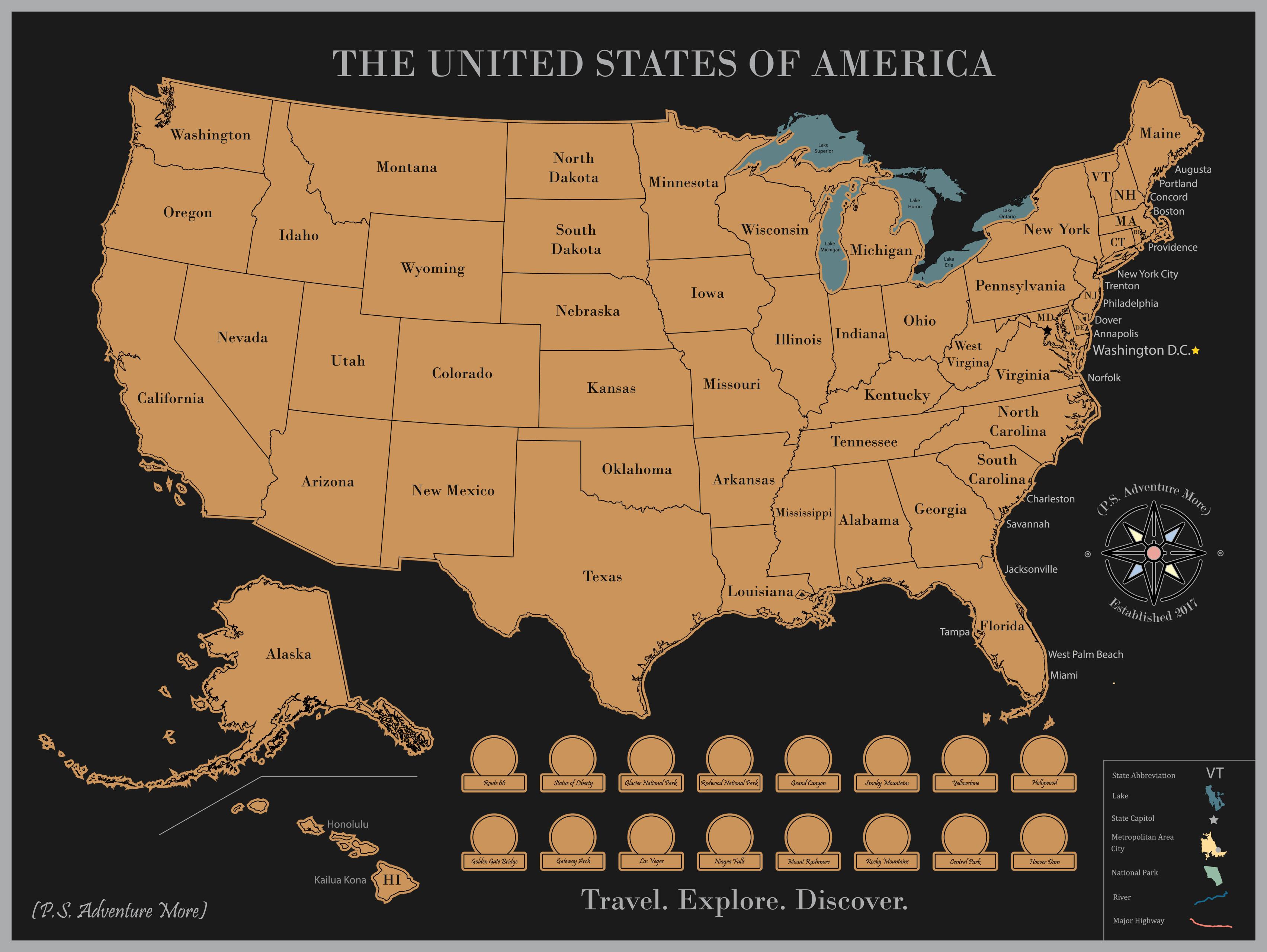 Scratch off USA Map Poster